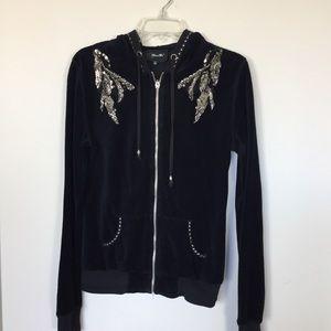 Miss Me Fleece Embroidery Black Hoodie
